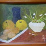 Natura moarta - II (1985) - Olga Cosmovici - 22x31 cm - ulei pe carton, cu rama frumoasa, Realism