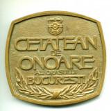 DEOSEBIT!!! MEDALIE CETATEAN DE ONOARE AL ORASULUI BUCURESTI BRONZ MASIV MEDALIA - Medalii Romania