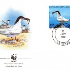WWF FDC 1989 Benin complet serie pasari - 4 buc. FDC