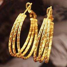 LIVRARE GRATUITA !!! - SUPERBI CERCEI 9K GOLD FILLED, ELEGANTI SI STILATI, PUNGUTA ELEGANTA CADOU - Cercei placati cu aur