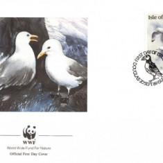 WWF FDC 1989 Isla of Man complet serie pasari - 4buc. FDC