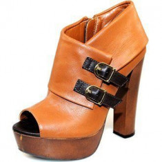 Pantofi NOI cu platforma si toc inalt marca QUPID - Pantof dama, Culoare: Camel, Violet, Marime: 36, 36.5, 37.5, 38, 38.5, 39, 40