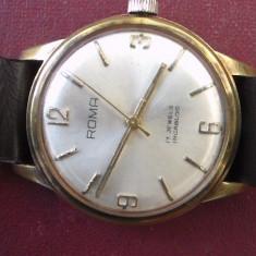 Ceas-ROMA- Swiss/ 17 jewels / stantat/ antimagnetic - Ceas dama, Lux - elegant, Mecanic-Manual, Placat cu aur, Piele, Rezistent la apa