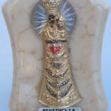 AuX: Frumoasa icoana catolica veche confectionata din alama pe suport de marmura, marcata benedici la Nostra Casa, reprezentand pe Fecioara Maria! - Metal/Fonta
