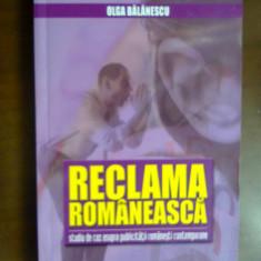 Reclama romaneasca - Olga Balanescu - Carte de publicitate