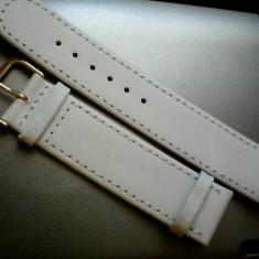 Curea ceas piele alba Arcadia, toate marimile(10mm-28mm, latime).