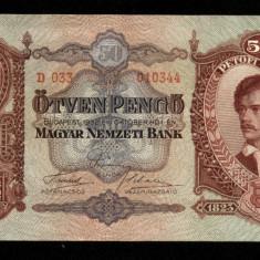 UNGARIA BANCNOTA DE 50 PENGO 1932 UNC CIRCULAT IN TRANSILVANIA PETOFI SANDOR - bancnota europa