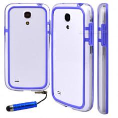 Bumper albastru transparent samsung galaxy s4 mini i9190 + folie protectie ecran + expediere gratuita - Bumper Telefon