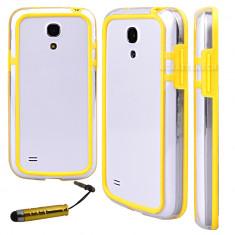 Bumper galben transparent samsung galaxy s4 mini i9190 + folie protectie ecran + expediere gratuita - Bumper Telefon