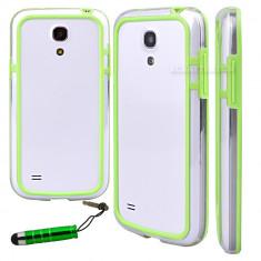 Bumper verde transparent samsung galaxy s4 mini i9190 + folie protectie ecran + expediere gratuita - Bumper Telefon