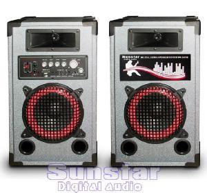 SISTEM COMPLET KARAOKE-BOXE AMPLIFICATE/ACTIVE 150 WATT P.M.P.O ,CITITOR MP3 INCLUS+SET MICROFOANE BONUS! foto