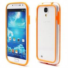 Bumper portocaliu transparent samsung galaxy s4 mini i9190 + folie protectie ecran + expediere gratuita - Bumper Telefon