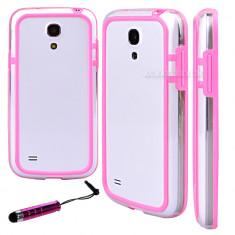 Bumper roz transparent samsung galaxy s4 mini i9190 + folie protectie ecran + expediere gratuita - Bumper Telefon