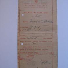 BULETIN CASATORIE SECTORUL I GALBEN DIN 1947 - Diploma/Certificat