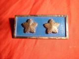 Insigna veche- Placa cu 2 stele ,metal argintat si email ,L= 5,4 cm