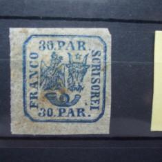 1864 Romania LP - 13 Principatele Unite (II) 30 parale albastru, guma originala si sarniera. - Timbre Romania, Altele