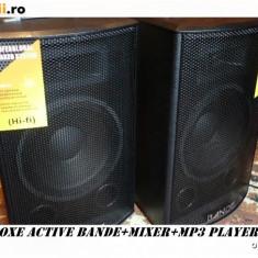 SISTEM 2 BOXE ACTIVE/AMPLIFICATE 10 INCH+MIXER+MP3 STICK/CARD+2 MICROFOANE! NOI.