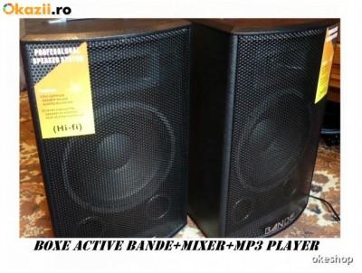 SISTEM 2 BOXE ACTIVE/AMPLIFICATE 10 INCH+MIXER+MP3 STICK/CARD+2 MICROFOANE! NOI. foto