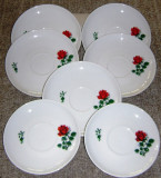 Set / Serviciu - farfurii / desert  - portelan Bavaria - Kahla - 1952 - 6 persoane - Trandafiri