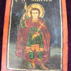 Icoana romaneasca veche cu doua fete Sf Dimitrie si Sf. Paraschieva - Icoana cu foita de aur