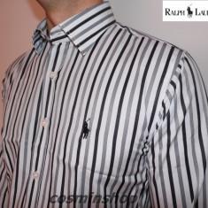 Camasi POLO RALPH LAUREN Model in Dungi - Slim Fit - Camasa barbati Polo By Ralph Lauren, Marime: S, M, Culoare: Maro, Maneca lunga