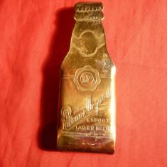 Desfacator Bere - Reclama Pilsner Urquell, metal, Cehoslovacia - Tirbuson si desfaractor