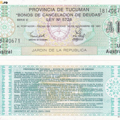 + Bancnota UNC Argentina Provincia de Tucuman 100 australes 1991 +