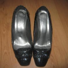 Pantofi piele lacuita dama marimea 38 - Pantof dama, Culoare: Negru, Negru, Cu toc