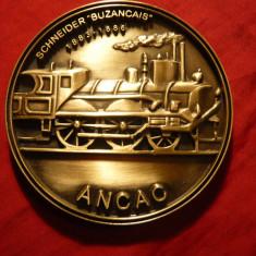 Placheta Locomotiva -Veterani Razboi , bronz ,d= 7,5 cm