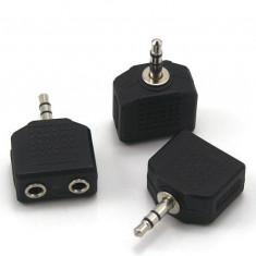 Splitter adaptor casti 3.5mm pentru iPhone 4 4S 5 iPod iPad mp3 3.5 mm Nokia Samsung S3 S4 I9505 HTC