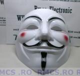 Masca V for Vendetta, Guy Fawkes Anonymous noi Alb plastic de calitate! PROMOTIE, Marime universala