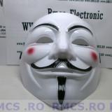 Masca V for Vendetta, Guy Fawkes Anonymous noi Alb plastic de calitate! PROMOTIE