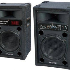 SISTEM 2 BOXE ACTIVE/AMPLIFICATE VLLIODOR 10 INCH BASS, MIXER INCLUS, EGALIZATOR, EFECTE VOCE+2 MICROFOANE BONUS. - Boxa activa