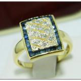 Vintage Inel  aur 14k diamante si safire naturale
