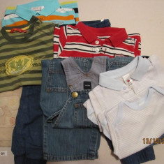Set haine baieti B4: 2 bodyuri, 3 bluze m. lunga, salopeta blugi, 2 pantaloni + CADOU