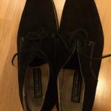 Pantofi negri - piele intoarsa - Pantof barbat, Marime: 43, Culoare: Negru, Negru