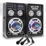 SISTEM 2 BOXE ACTIVE/AMPLFICATE CU MIXER INCLUS,MP3 PLAYER STICK SI CARD,ORGA LUMINI DUPA SUNET,RADIO+2 MICROFOANE BONUS.