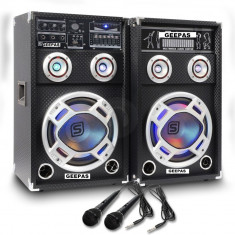 SISTEM 2 BOXE ACTIVE/AMPLFICATE CU MIXER INCLUS, MP3 PLAYER STICK SI CARD, ORGA LUMINI DUPA SUNET, RADIO+2 MICROFOANE BONUS.