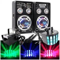 SISTEM 2 BOXE ACTIVE/AMPLFICATE CU MIXER INCLUS,MP3 PLAYER STICK SI CARD,ORGA LUMINI DUPA SUNET,RADIO+2 MICROFOANE BONUS+MASINA FUM+SCANNER LUMINI LED