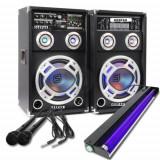 SISTEM 2 BOXE ACTIVE/AMPLFICATE CU MIXER INCLUS,MP3 PLAYER STICK SI CARD,ORGA LUMINI DUPA SUNET,RADIO+2 MICROFOANE BONUS+NEON DISCO UV LUMINA ALBASTRA