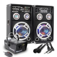 SISTEM 2 BOXE ACTIVE/AMPLFICATE CU MIXER INCLUS, MP3 PLAYER STICK SI CARD, ORGA LUMINI DUPA SUNET, RADIO+2 MICROFOANE BONUS+MASINA FUM DISCO.