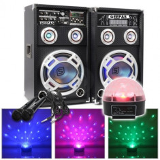 SISTEM 2 BOXE ACTIVE/AMPLFICATE CU MIXER INCLUS, MP3 PLAYER STICK SI CARD, ORGA LUMINI DUPA SUNET, RADIO+2 MICROFOANE BONUS+PROIECTOR LUMINI DISCO.