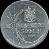 Monede 500 lei cu eclipsa totala de soare (Romania 1999)