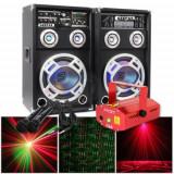 SISTEM 2 BOXE ACTIVE/AMPLFICATE CU MIXER INCLUS,MP3 PLAYER STICK SI CARD,ORGA LUMINI DUPA SUNET,RADIO+2 MICROFOANE BONUS+LASER PROIECTOR DISCO.
