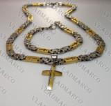 Lant, Bratara +Medalion  two tone Inox(otel inoxidabil)  Placat Aur