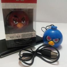 BOXA MP3 TELEFON PC TABLETA ANGRY BIRDS ! SE POATE PURTA SI CA BRELOC ! UN CADOU IDEAL PENTRU CEI MICI ! - Boxa portabila