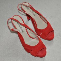 Noi! Sandale de piele intoarsa rosii, superbe, toc inalt, Jonquille, femei marimea 40 - Sandale dama, Culoare: Negru