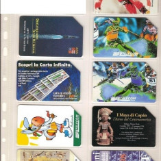 Lot 9 cartele telefonice Italia, nave, ski, marina militara, civilizatia Maya - lot colectie