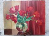 Lalele in vaza transparenta - pictura anii '30