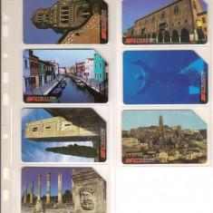 Lot 7 cartele telefonice Italia, monumente istorice pe regiuni - lot colectie